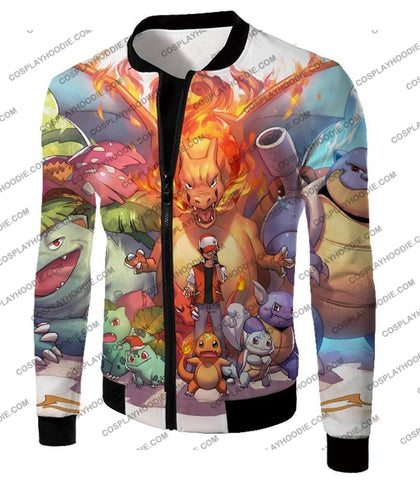 Image of Pokemon Ash Ketchum All Cool First Generation Pokemons Awesome T-Shirt Pkm041 Jacket / Us Xxs (Asian