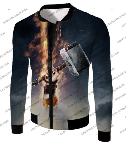 Image of Awesome Thor Thunder Hammer Cool Grey T-Shirt Thor041 Jacket / Us Xxs (Asian Xs)