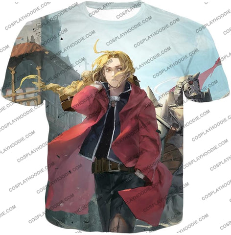 Image of Fullmetal Alchemist Awesome High Definition Art Edward Elrich Anime Poster T-Shirt Fa042 / Us Xxs