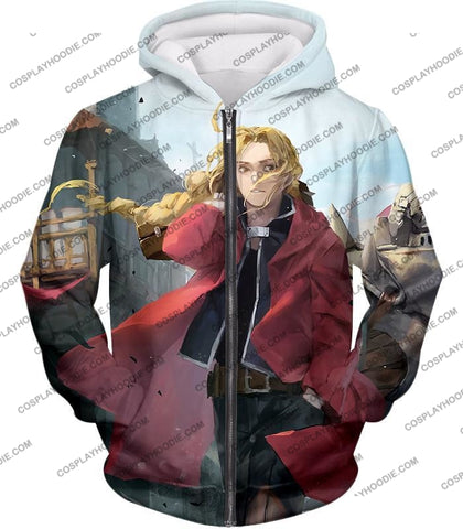 Image of Fullmetal Alchemist Awesome High Definition Art Edward Elrich Anime Poster T-Shirt Fa042 Zip Up
