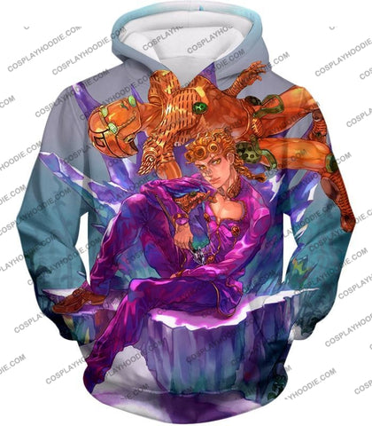 Image of Jojos Vento Aureo C Giorno Giovanna X Gold Experience Graphic T-Shirt Jo043 Hoodie / Us Xxs (Asian