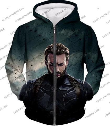 Image of The Avengers Awesome Hero Steve Rogers Aka Captain America T-Shirt Ta043 Zip Up Hoodie / Us Xxs