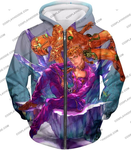 Image of Jojos Vento Aureo C Giorno Giovanna X Gold Experience Graphic T-Shirt Jo043 Zip Up Hoodie / Us Xxs