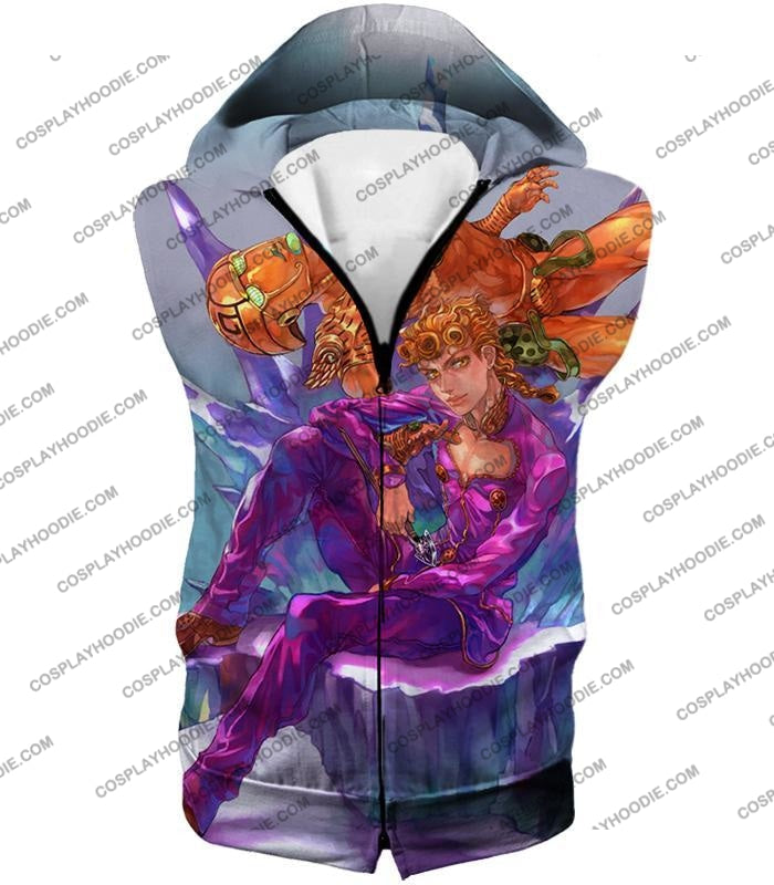 Jojos Vento Aureo C Giorno Giovanna X Gold Experience Graphic T-Shirt Jo043 Hooded Tank Top / Us Xxs
