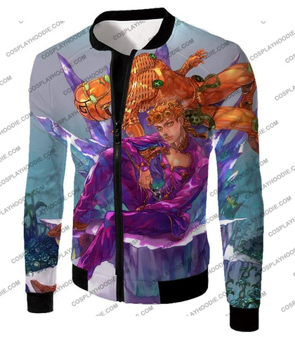 Image of Jojos Vento Aureo C Giorno Giovanna X Gold Experience Graphic T-Shirt Jo043 Jacket / Us Xxs (Asian