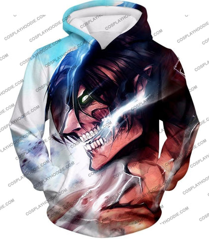 Attack On Titan Form Eren Yeager White T-Shirt Aot044 Hoodie / Us Xxs (Asian Xs)