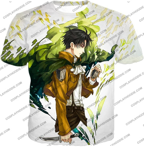 Image of Attack On Titan Awesome Survey Corp Soldier Levi Ackerman Ultimate Anime White T-Shirt Aot094 / Us