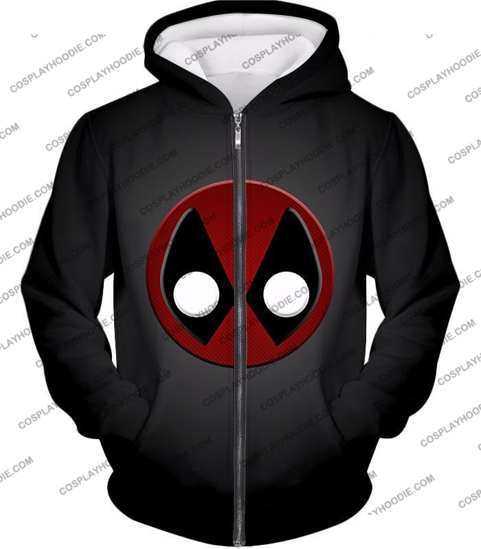Favourite Deadpool Logo Cool Black T-Shirt Dp044 Zip Up Hoodie / Us Xxs (Asian Xs)