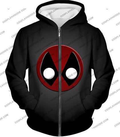 Image of Favourite Deadpool Logo Cool Black T-Shirt Dp044 Zip Up Hoodie / Us Xxs (Asian Xs)