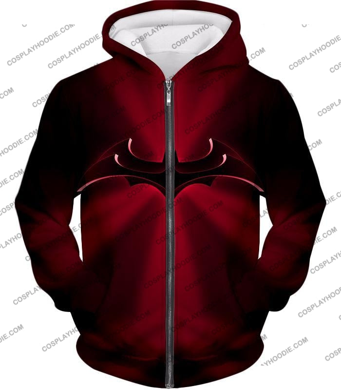 Super Awesome Red Batman Logo Cool Shaded T-Shirt Bm044 Zip Up Hoodie / Us Xxs (Asian Xs)