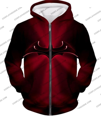 Image of Super Awesome Red Batman Logo Cool Shaded T-Shirt Bm044 Zip Up Hoodie / Us Xxs (Asian Xs)