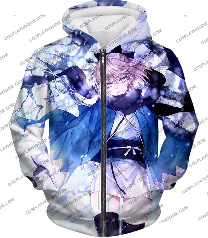 Fate Stay Night Beautidful Blonde Fighter Sakura Saber Hot T-Shirt Fsn044 Zip Up Hoodie / Us Xxs