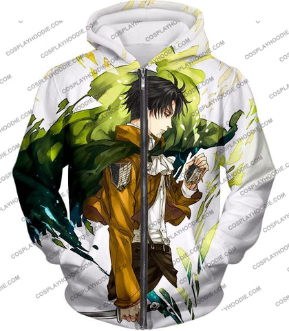 Image of Attack On Titan Awesome Survey Corp Soldier Levi Ackerman Ultimate Anime White T-Shirt Aot094 Zip Up