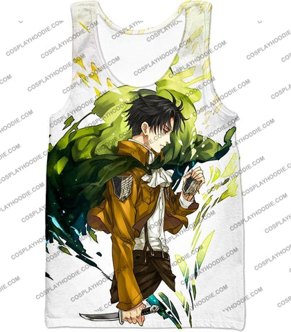 Image of Attack On Titan Awesome Survey Corp Soldier Levi Ackerman Ultimate Anime White T-Shirt Aot094 Tank