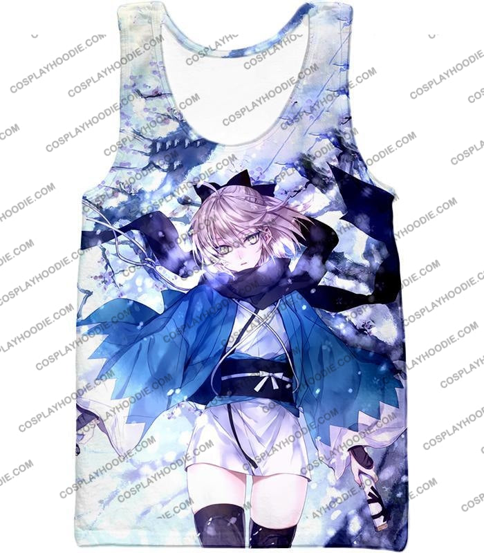 Fate Stay Night Beautidful Blonde Fighter Sakura Saber Hot T-Shirt Fsn044 Tank Top / Us Xxs (Asian