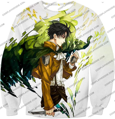 Image of Attack On Titan Awesome Survey Corp Soldier Levi Ackerman Ultimate Anime White T-Shirt Aot094