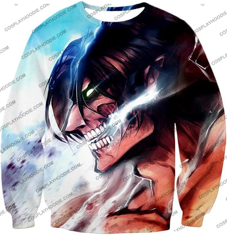 Attack On Titan Form Eren Yeager White T-Shirt Aot044 Sweatshirt / Us Xxs (Asian Xs)