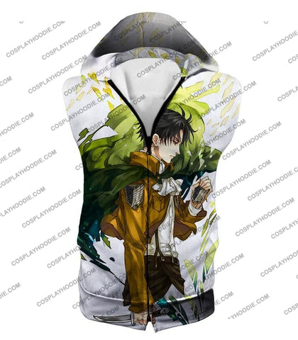 Image of Attack On Titan Awesome Survey Corp Soldier Levi Ackerman Ultimate Anime White T-Shirt Aot094 Hooded