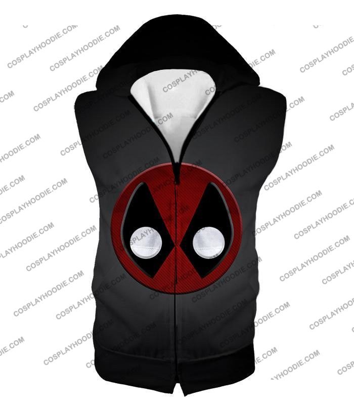 Favourite Deadpool Logo Cool Black T-Shirt Dp044 Hooded Tank Top / Us Xxs (Asian Xs)