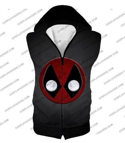 Image of Favourite Deadpool Logo Cool Black T-Shirt Dp044 Hooded Tank Top / Us Xxs (Asian Xs)