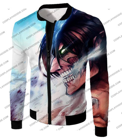 Attack On Titan Form Eren Yeager White T-Shirt Aot044 Jacket / Us Xxs (Asian Xs)