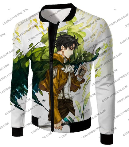 Image of Attack On Titan Awesome Survey Corp Soldier Levi Ackerman Ultimate Anime White T-Shirt Aot094 Jacket