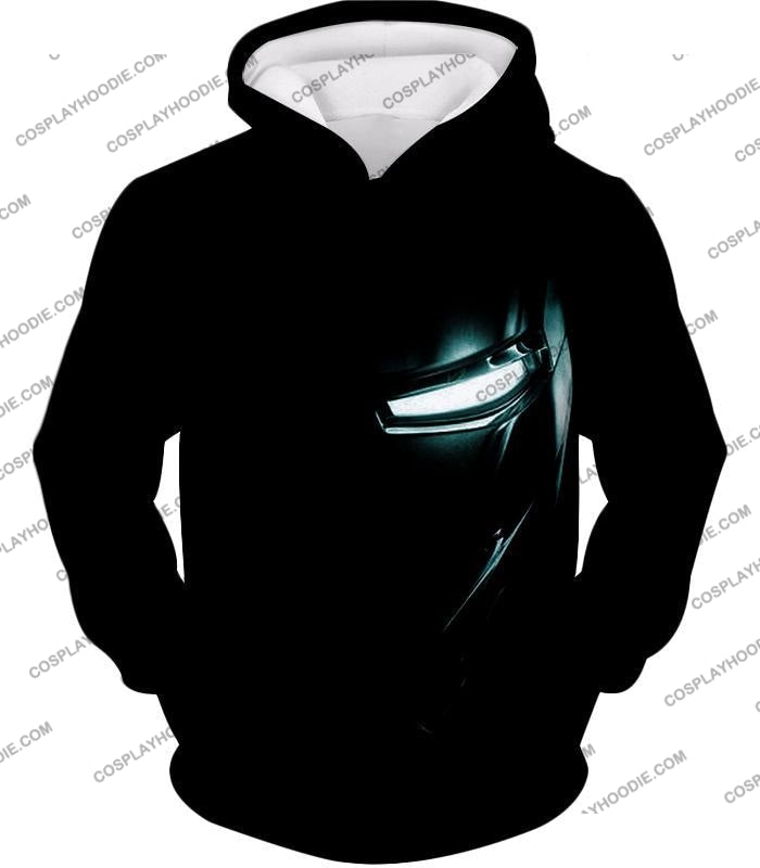 Cool Iron Man Half Printed Black T-Shirt Im045 Hoodie / Us Xxs (Asian Xs)