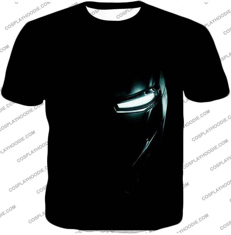 Cool Iron Man Half Printed Black T-Shirt Im045 / Us Xxs (Asian Xs)