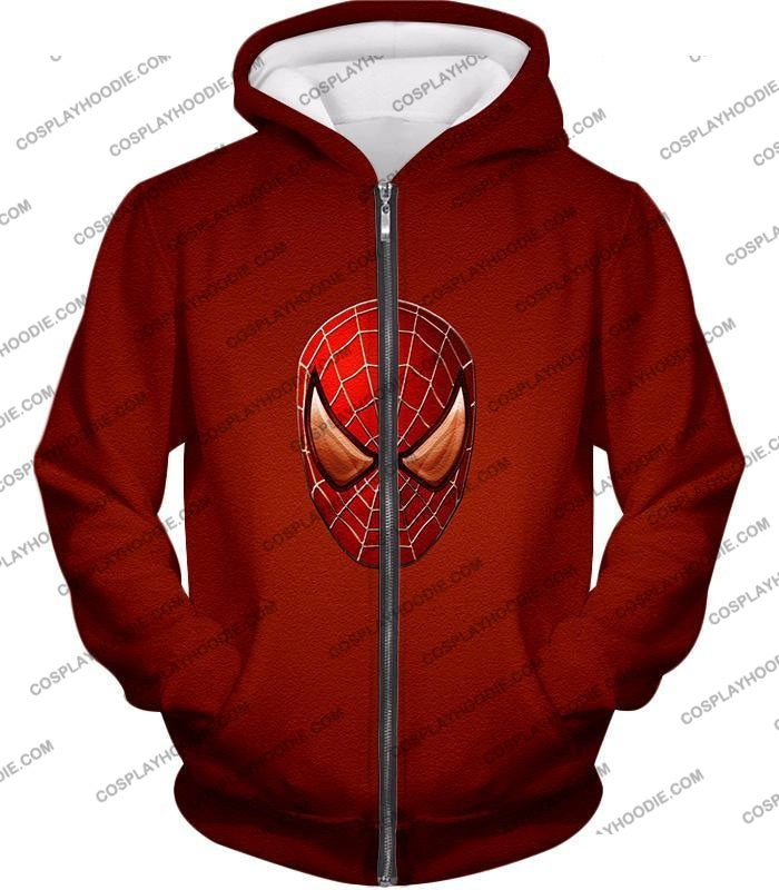 Amazing Spiderman Mask Promo Red T-Shirt Sp045 Zip Up Hoodie / Us Xxs (Asian Xs)