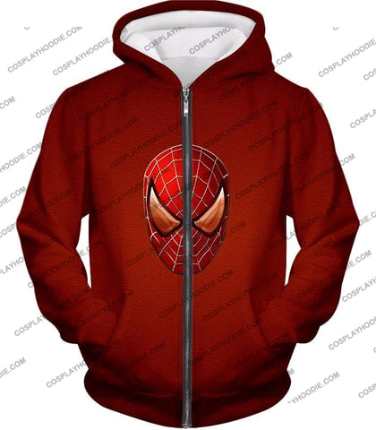 Image of Amazing Spiderman Mask Promo Red T-Shirt Sp045 Zip Up Hoodie / Us Xxs (Asian Xs)