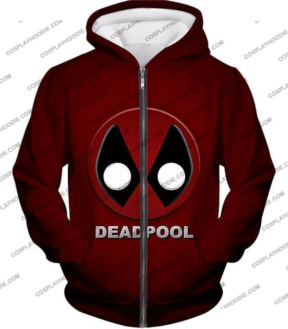 Image of Marvels Deadpool Promo Logo Red T-Shirt Dp045 Zip Up Hoodie / Us Xxs (Asian Xs)
