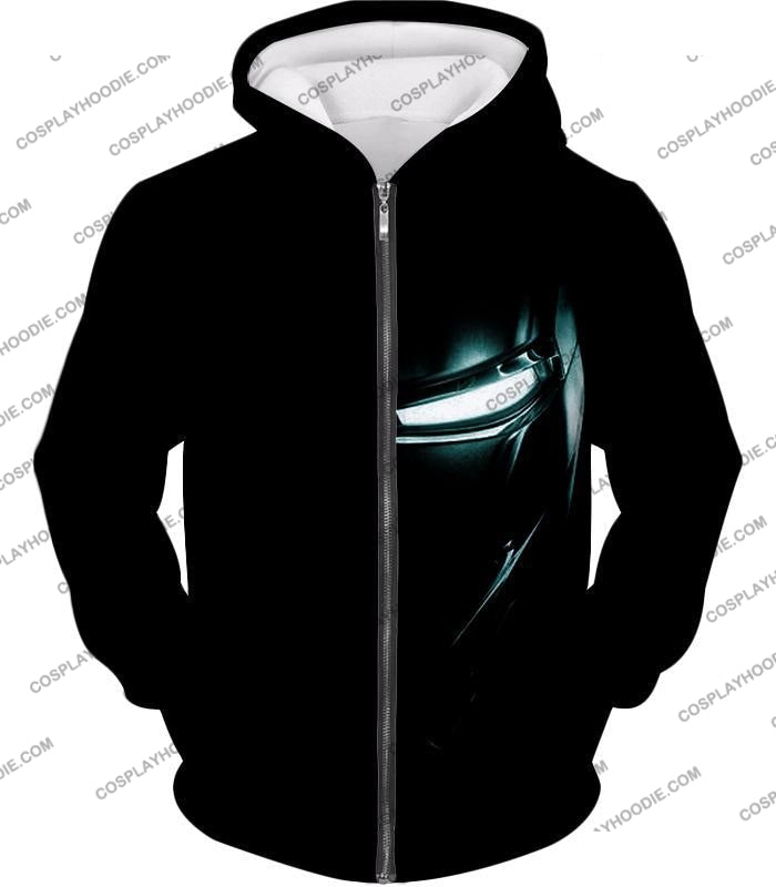 Cool Iron Man Half Printed Black T-Shirt Im045 Zip Up Hoodie / Us Xxs (Asian Xs)
