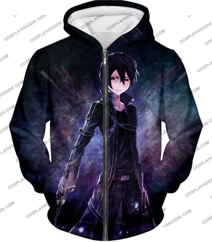 Image of Sword Art Online Super Cool Sao Avatar Kirito The Black Swordsman Awesome Anime T-Shirt Sao045 Zip