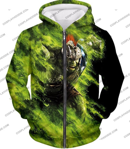 Image of Awesome Marvel Cinematic Warrior Hulk Action T-Shirt Thor045 Zip Up Hoodie / Us Xxs (Asian Xs)