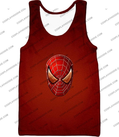 Image of Amazing Spiderman Mask Promo Red T-Shirt Sp045 Tank Top / Us Xxs (Asian Xs)