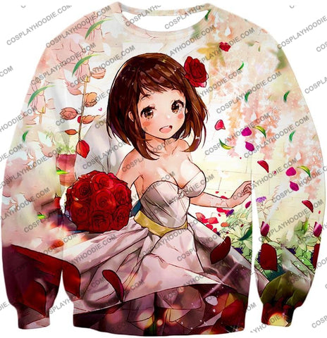 Image of My Hero Academia Beautiful Uraraka Fan Made Dress Cute Anime Promo T-Shirt Mha095 Sweatshirt / Us