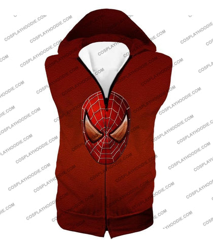 Image of Amazing Spiderman Mask Promo Red T-Shirt Sp045 Hooded Tank Top / Us Xxs (Asian Xs)