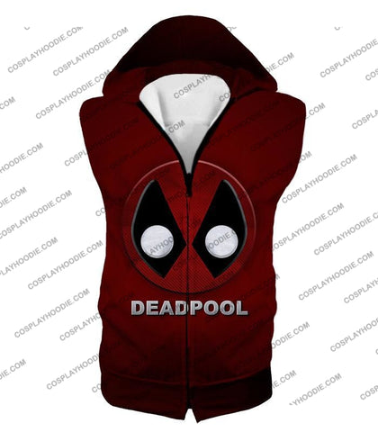Image of Marvels Deadpool Promo Logo Red T-Shirt Dp045 Hooded Tank Top / Us Xxs (Asian Xs)