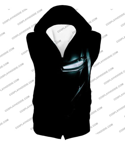 Image of Cool Iron Man Half Printed Black T-Shirt Im045 Hooded Tank Top / Us Xxs (Asian Xs)