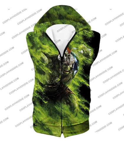 Image of Awesome Marvel Cinematic Warrior Hulk Action T-Shirt Thor045 Hooded Tank Top / Us Xxs (Asian Xs)