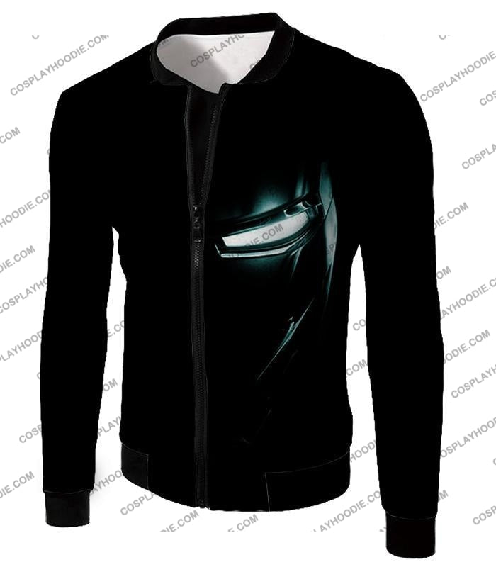 Cool Iron Man Half Printed Black T-Shirt Im045 Jacket / Us Xxs (Asian Xs)