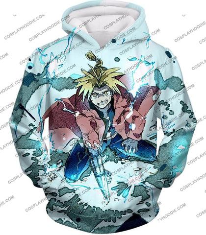 Image of Fullmetal Alchemist Edward Elrich Ultimate Anime Action Cool Graphic T-Shirt Fa046 Hoodie / Us Xxs