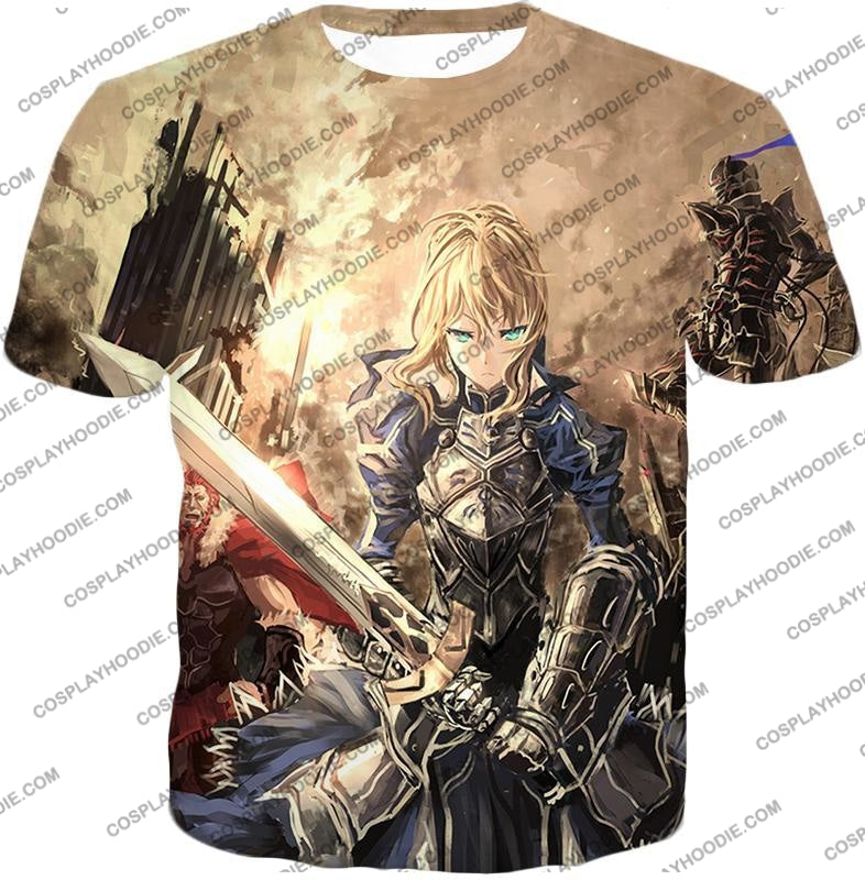 Fate Stay Night Saber Altria Pendragon Battlefield Action T-Shirt Fsn046 / Us Xxs (Asian Xs)