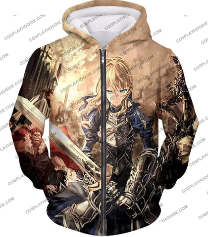 Image of Fate Stay Night Saber Altria Pendragon Battlefield Action T-Shirt Fsn046 Zip Up Hoodie / Us Xxs