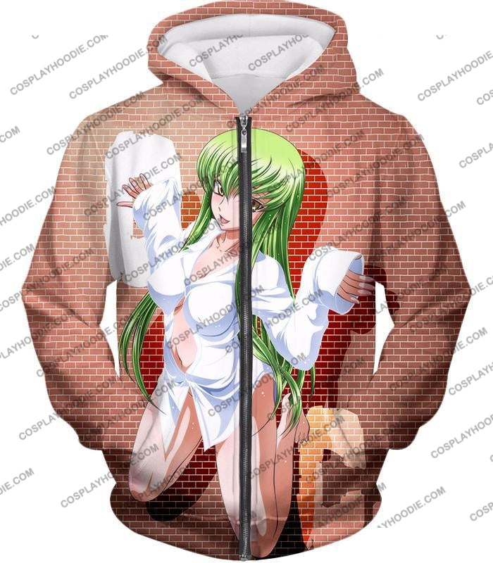 Code Geass Green Haired Anime Beauty C.c Promo Cool Brick Patterned T-Shirt Cg046 Zip Up Hoodie / Us