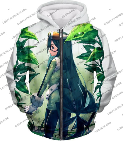 Image of My Hero Academia Super Cool Froppy Tsuyu Asui Awesome Anime White T-Shirt Mha096 Zip Up Hoodie / Us
