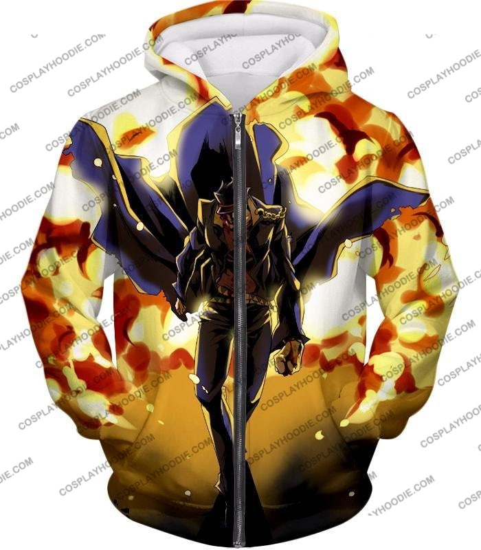 Jojos Stardust Crusaders C Jotaro Kujo Anime Action T-Shirt Jo046 Zip Up Hoodie / Us Xxs (Asian Xs)