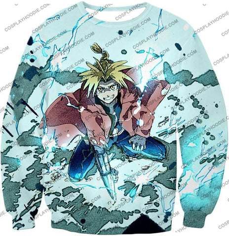 Image of Fullmetal Alchemist Edward Elrich Ultimate Anime Action Cool Graphic T-Shirt Fa046 Sweatshirt / Us