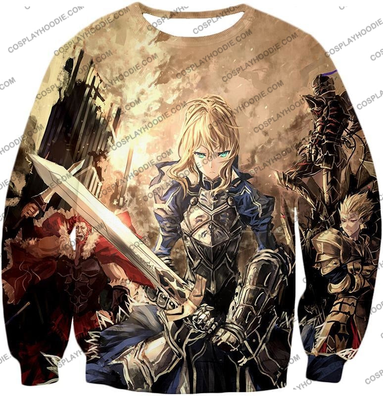 Fate Stay Night Saber Altria Pendragon Battlefield Action T-Shirt Fsn046 Sweatshirt / Us Xxs (Asian