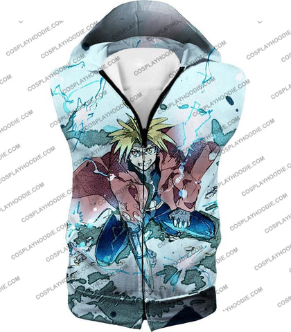 Image of Fullmetal Alchemist Edward Elrich Ultimate Anime Action Cool Graphic T-Shirt Fa046 Hooded Tank Top /